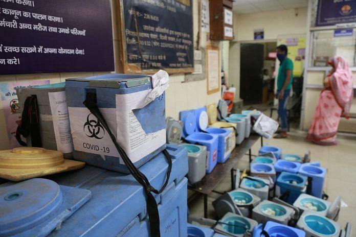 Boxes kept with kits at a dispensary in Sadar Bazar | Photo: Manisha Mondal | ThePrint