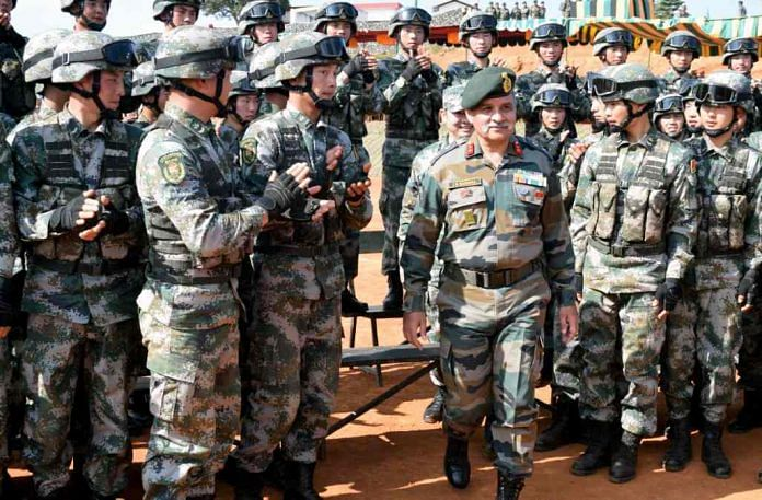Indian and Chinese soldiers during a military exercise in Meghalaya last year | Representational image | ANI