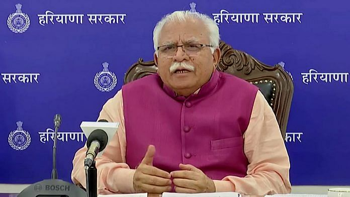 File image of Haryana Chief Minister Manohar Lal Khattar | Photo: ANI