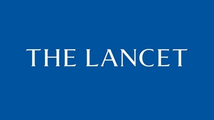 Screenshot of the loading screen of The Lancet's mobile app