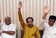 File image of NCP chief Sharad Pawar, Shiv Sena chief and Maharashtra CM Uddhav Thackeray and Revenue Minister Balasaheb Thorat of the Congress | Photo: ANI