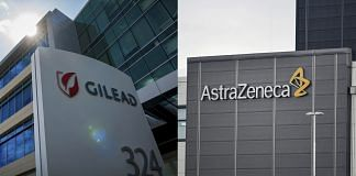 A combination photograph shows signage displayed outside Gilead Sciences Inc. headquarters in Foster City, California and the AstraZeneca Plc logo on an building at the company's facilities in Sodertalje, Sweden