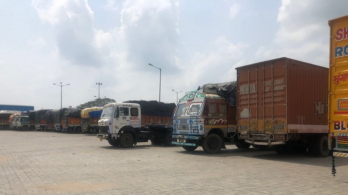 Trucks stranded at the Petrapole Integrated Check Post since the lockdown began on 25 March | Photo: Madhuparna Das | ThePrint