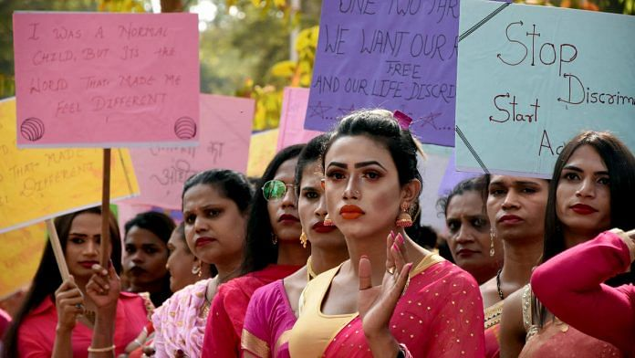 File image of transgender persons at a protest | Photo: ANI
