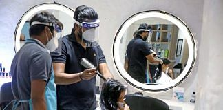 Salon workers don face shields to serve a customer in the 'Unlock 1' phase of the Covid-19 lockdown | Photo: ANI