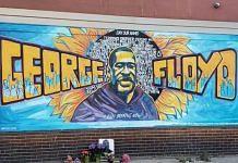 A mural in honour of George Floyd in Minneapolis, USA | @iamJustinBailey | Twitter