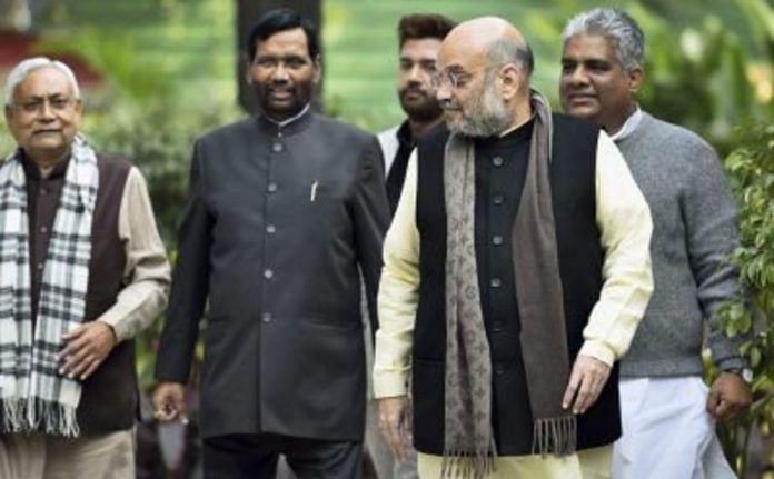Former BJP president Amit Shah with allies Nitish Kumar of JD(U) and Ram Vilas Paswan of LJP | File photo | PTI