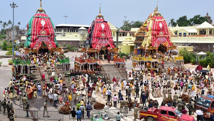 Chariots of Lord Balabhadra, Subhadra and Jagannath before a procession takes off during the Rath Yatra in Puri on 23 June
