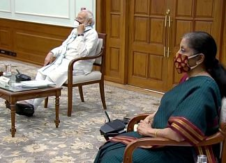 Narendra Modi and Nirmala Sitharaman during a Union Cabinet meeting in New Delhi on 3 June | ANI Photo