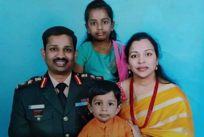 Col Santosh Babu with his wife, daughter and son | By special arrangement