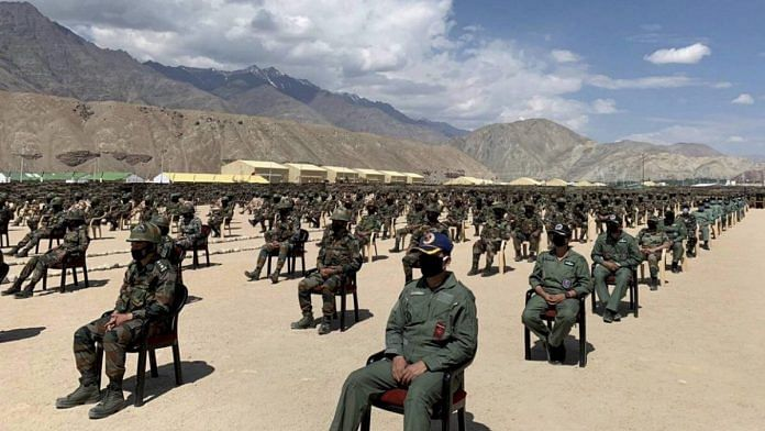Indian armed forces' personnel during PM Modi's visit to Leh, 3 July   PTI