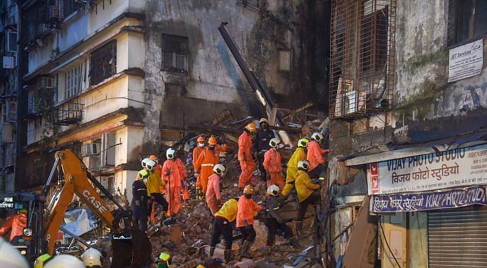 Rescue operation being carried out after a corner portion of an old six-story building collapsed at Fort area, in Mumbai, Thursday, 16 July, 2020.| PTI