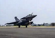 The first of five Rafale fighter jets, travelling from France, touches down at Ambala air base in Haryana | PTI