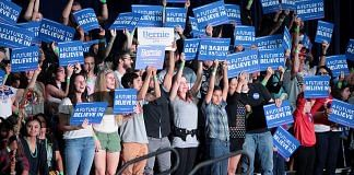 File photo of Bernie Sanders supporters at a campaign rally in Phoenix, Arizona