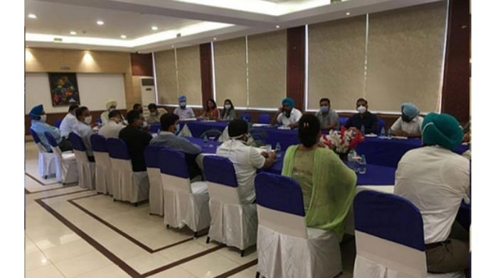 The meeting of PCS officers at a hotel in Chandigarh on 3 July 2020   By special arrangement