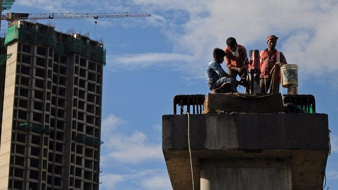 Workers at a metro construction site in Mumbai (representational image) | Photo: ANI