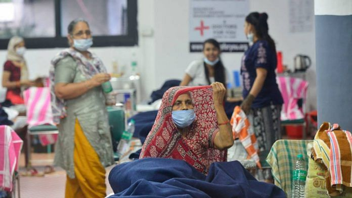 Recovered patients at CWG Village Covid care centre, during Unlock 2.0, near Akshardham in New Delhi, on 23 July 2020 | Kamal Kishore | PTI