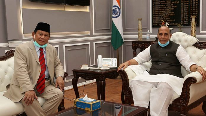 Defence Minister of Republic of Indonesia, General Prabowo Subianto with Rajnath Singh | Twitter