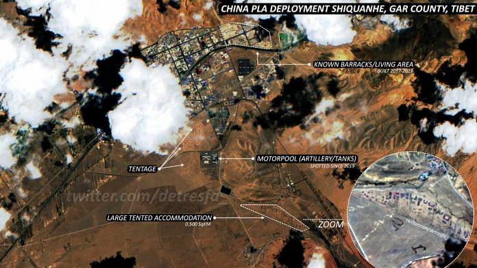 On July 21, Twitter user @detresfa posted this satellite image, claiming it to be from Shiquanhe in Tibet Autonomous Region where PLA build-up is seen | Photo: Twitter