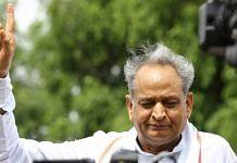 Rajasthan CM Ashok Gehlot addressing media outside Fairmont hotel in Jaipur on 20 July 2020 | Suraj Singh Bisht | ThePrint