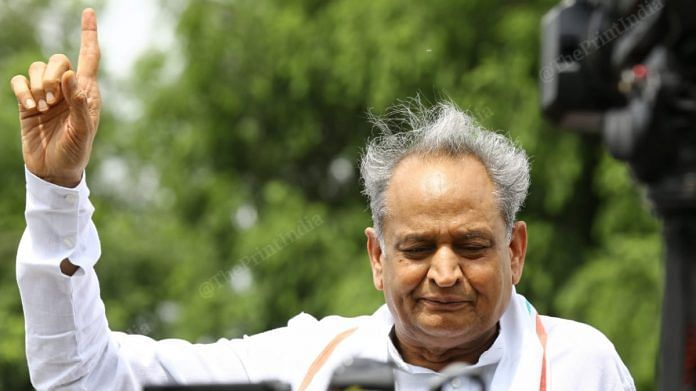 Rajasthan CM Ashok Gehlot addressing media outside Fairmont hotel in Jaipur on 20 July 2020 | Suraj Singh Bisht | ThePrint