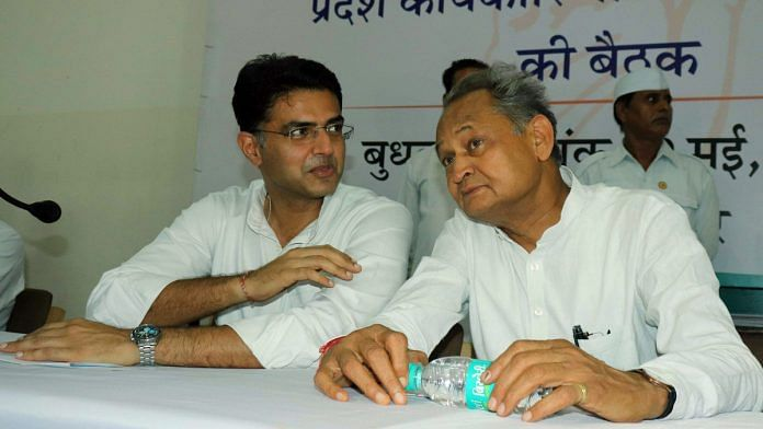 Rajasthan Deputy CM Sachin Pilot (left) and CM Ashok Gehlot | File photo: ANI