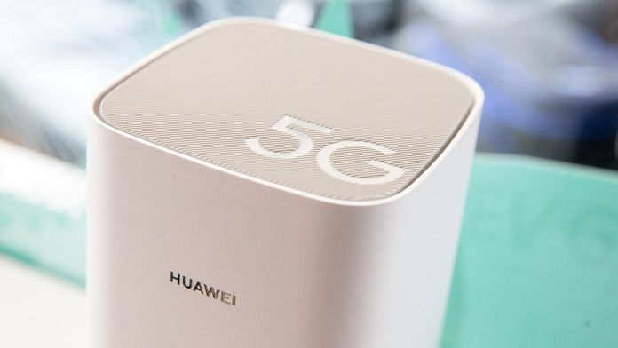 File photo of a Huawei 5G router on display in London