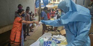 Municipal health workers screen residents for Covid-19 at Dadar in Mumbai, on 25 July 2020   Mitesh Bhuvad   PTI