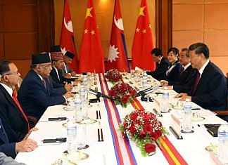 Nepal PM K.P. Sharma Oli (left, centre) and Chinese President Xi Jinping (right, centre) with their respective delegations at a 2019 meeting in Kathmandu | Photo: ANI