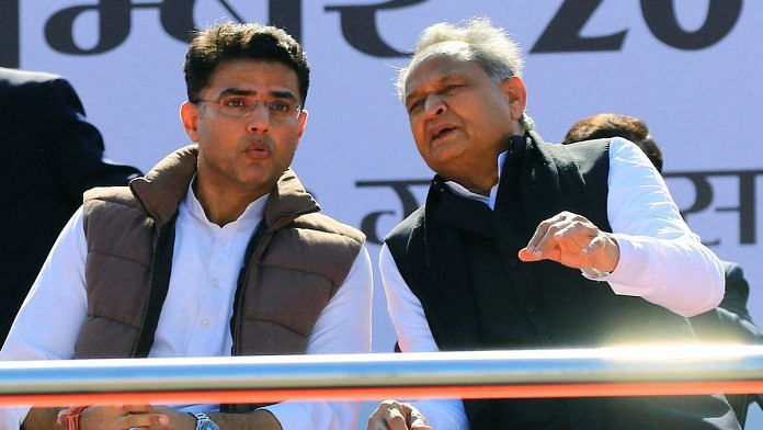 File image of former Rajasthan deputy CM Sachin Pilot (left) and CM Ashok Gehlot | Photo: ANI