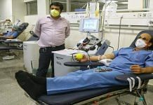 A recovered Covid-19 patient donates plasma at Delhi's new plasma bank, located at the Institute of Liver & Biliary Sciences, Thursday | Suraj Singh Bisht | ThePrint