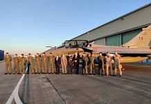The Indian Air Force contingent at Merignac in France with a Rafale jet | Indian Embassy in France | Twitter