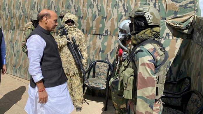 Defence Minister Rajnath Singh with special forces personnel in Ladakh Friday | By special arrangement