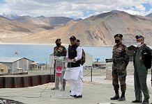 Defence Minister Rajnath Singh addresses troops at the Pangong Tso in Ladakh Friday | Photo: ANI
