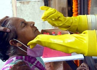 A woman is tested for Covid-19 in Patna, Bihar, Wednesday | Photo: ANI