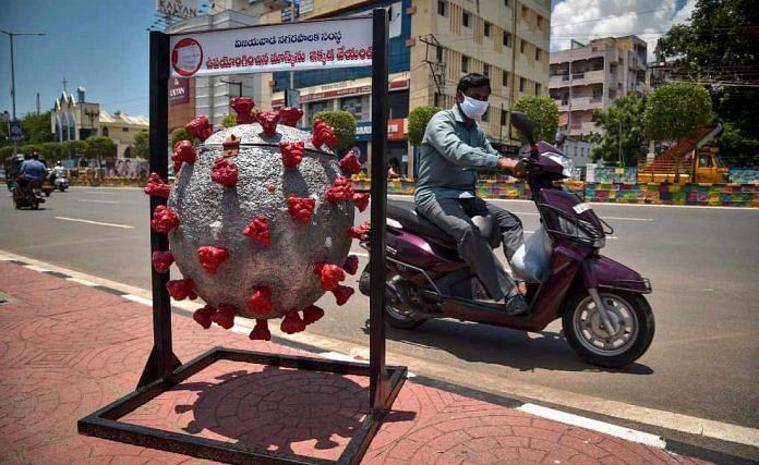 A coronavirus-shaped dustbin placed in Vijayawada by municipal authorities to raise awareness about the pandemic | Representational image | ANI