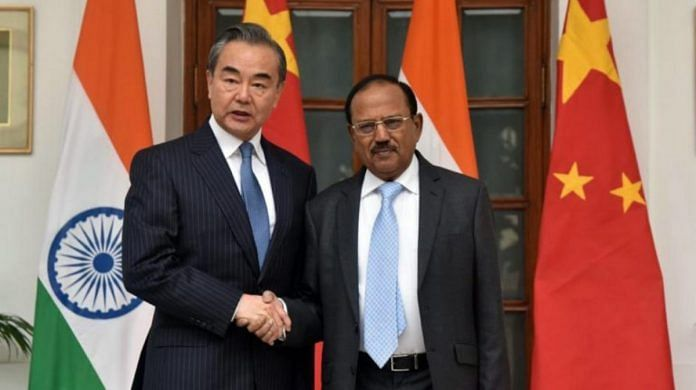 State Councillor and Chinese Foreign Minister Wang Yi with National Security Advisor Ajit Doval at the 22nd meeting of Special Representatives (SR) for India-China Boundary Question, in New Delhi last December | ANI file