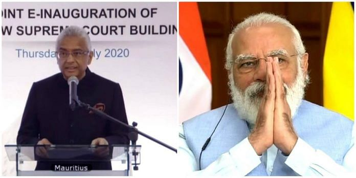 Prime Minister Narendra Modi and Mauritian PM Pravind Jugnauth jointly inaugurate the new Supreme Court building of Mauritius at Port Louis through video conferencing.| ANI
