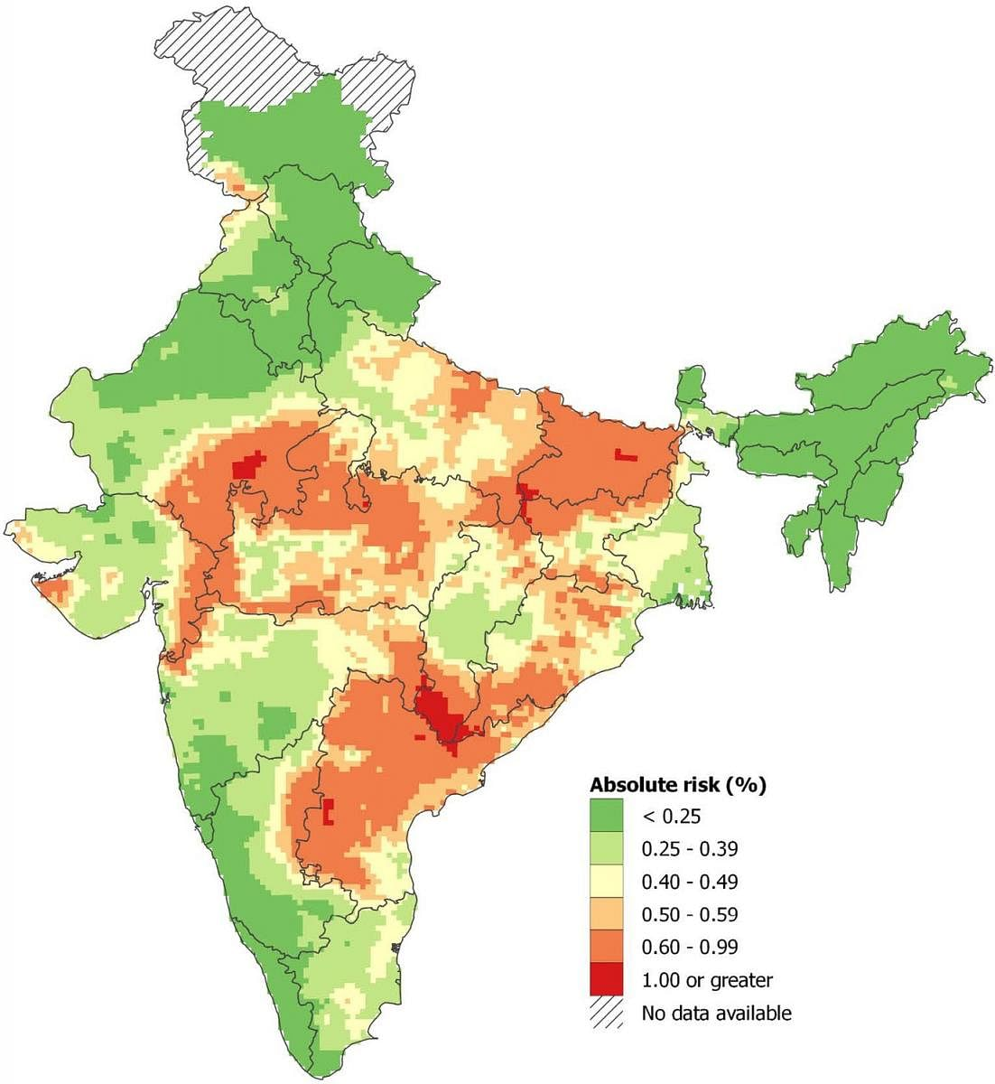 Spatial distribution of snakebite mortality risk in India for 2004-13