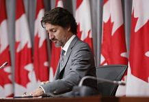 Justin Trudeau attends a news conference in Ottawa on July 8.