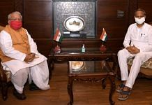 File photo of Rajasthan Governor Kalraj Mishra with CM Ashok Gehlot (right) | ANI
