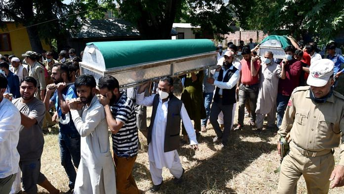 A file photo of the funeral of the BJP leader who was killed in Bandipora last week along with his brother and father. | Photo: ANI
