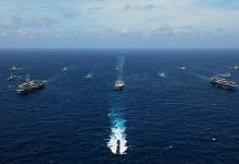 File photo of ships during the Malabar naval exercise