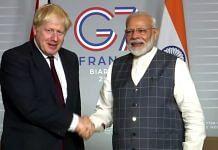 A file photo of Prime Minister Narendra Modi and Britain PM Boris Johnson. | Photo: ANI