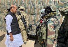 Defence Minister Rajnath Singh with special forces personnel in Ladakh Friday   By special arrangement