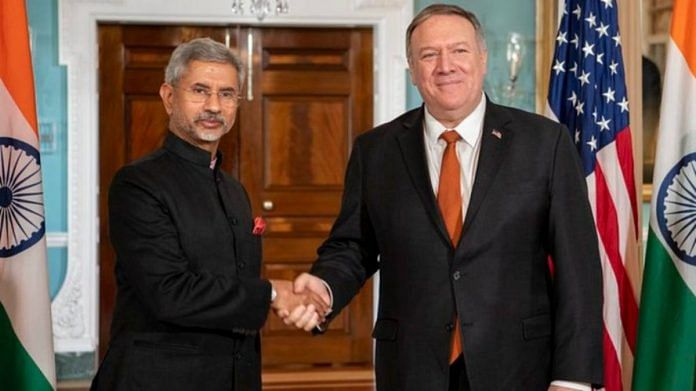 File photo of External Affairs Minister S. Jaishankar with his US counterpart Mike Pompeo | @SecPompeo | Twitter