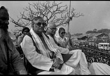 During the demolition a lot of leaders where present at the site. In this picture ( from left to right) BJP leaders Murli Manohar Joshi, L.K. Advani, Vijaya Raje Shindia, watching demolition on December 6 at Ram Katha Kunj | Photo: Praveen Jain | ThePrint