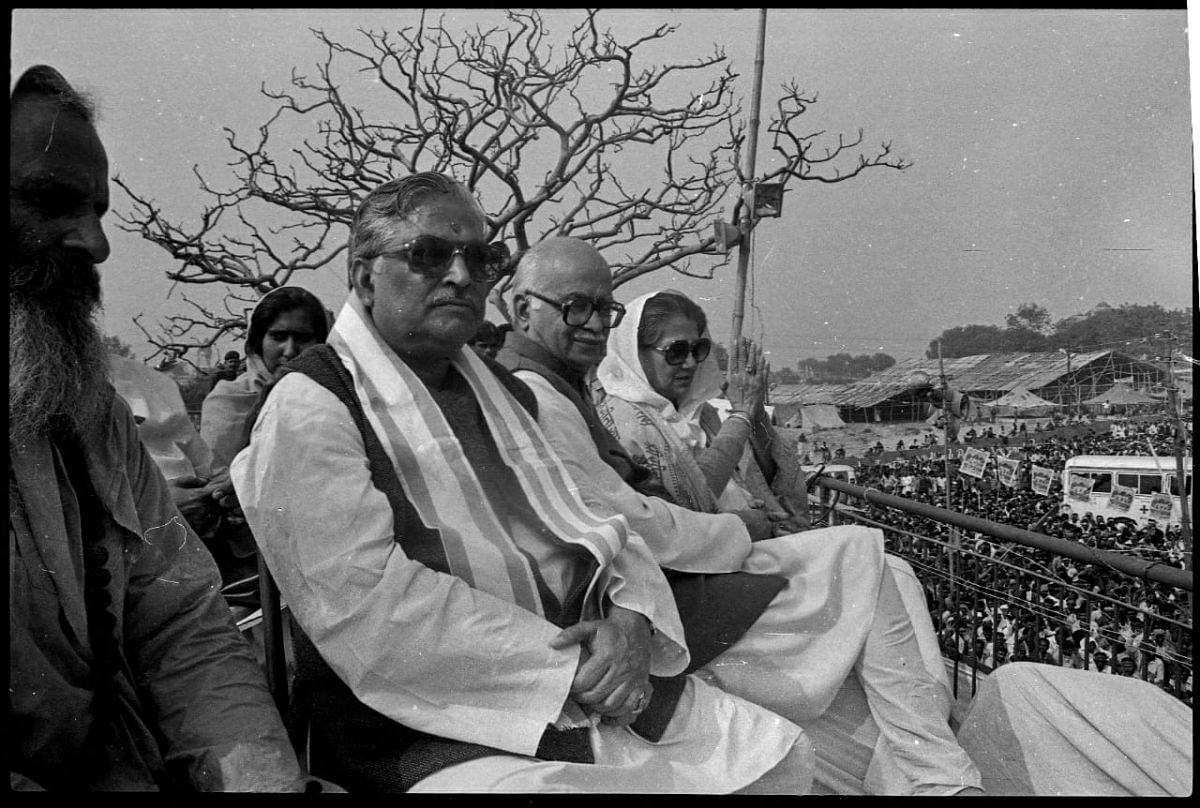 During the demolition a lot of leaders where present at the site. In this picture ( from left to right) BJP leaders Murli Manohar Joshi, L.K. Advani, Vijaya Raje Shindia, watching demolition on December 6 at Ram Katha Kunj   Photo: Praveen Jain   ThePrint