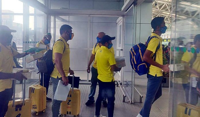Players of Chennai Super Kings, including Mahendra Singh Dhoni captured on 21 August leaving for the United Arab Emirates from Chennai airport for IPL 2020 | ANI Photo