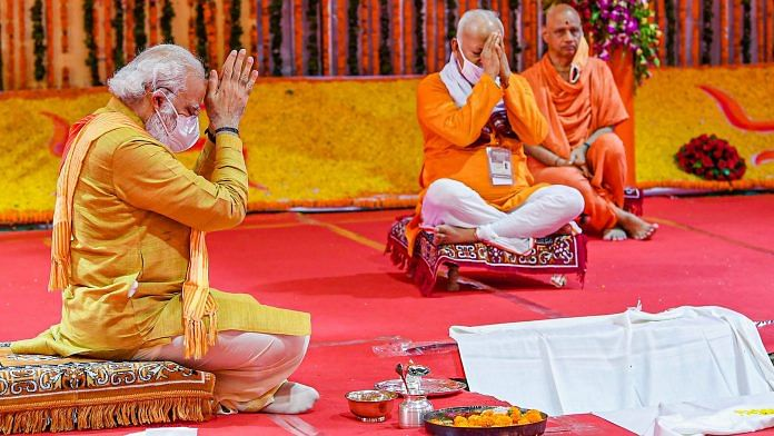 Prime Minister Narendra Modi along with RSS Chief Mohan Bhagwat performs bhoomi pujan for the Ram Mandir in Ayodhya, Wednesday | PTI